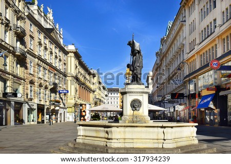 Vienna, Austria- 30 August, 2015: cityscape on the street Graben (Grabenstrasse), main street in old town of Vienna on 30 August in Vienna , Austria - stock photo