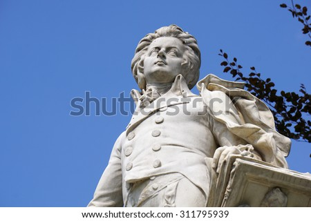 Vienna, Austria - August 28, 2015: Close up of Mozart Statue in Imperial Palace Park, Vienna on August 28, 2015.  - stock photo