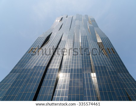VIENNA, AUSTRIA - AUGUST 20, 2015: DC Tower Skyscraper 1 In The Donaucity District Is The Highest Skyscraper In Vienna City And Was Built In 2013 By Architect Dominique Perrault.