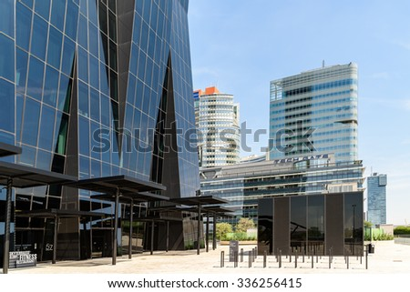 VIENNA, AUSTRIA - AUGUST 20, 2015: DC Tower 1, Unisys Andromeda Tower And Tech Gate Tower Skyscraper In The Donaucity District Of Vienna City.