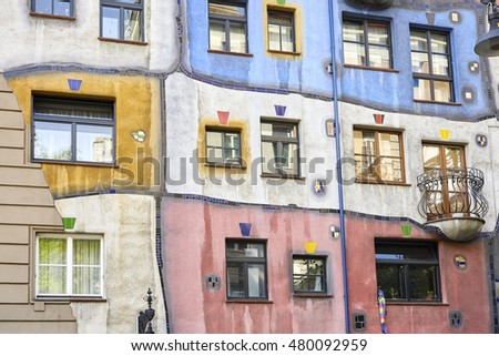 VIENNA, AUSTRIA - AUGUST 15, 2016: Facade of the Hundertwasserhaus, an apartment building built after the concept of artist Friedensreich Hundertwasser with architect Joseph Krawina as co-author.