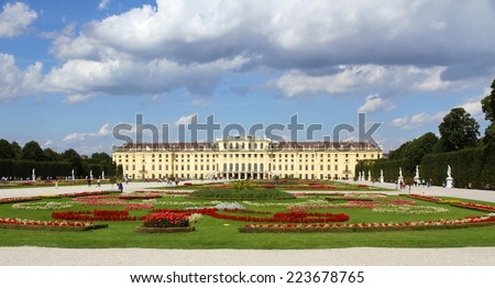 VIENNA, AUSTRIA - August 25 Garden of Schonbrunn Castle on August 25, 2014 in VIENNA