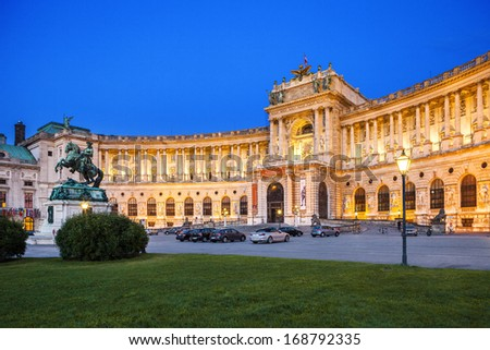 VIENNA, AUSTRIA - AUGUST 30: Hofburg Palace was home for the most powerful people in European and Austrian Habsburg. Statue of Emperor Joseph II, evening view; August 30, 2013 in Vienna, Austria.