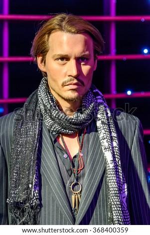 VIENNA, AUSTRIA - AUGUST 08, 2015: Johnny Depp Figurine At Madame Tussaud Wax Museum. - stock photo