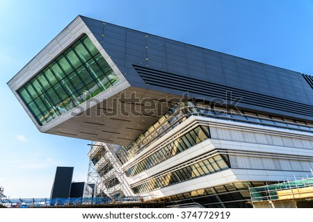 VIENNA, AUSTRIA - AUGUST 09, 2015: Library and Learning Center by Zaha Hadid Of Vienna University of Economics and Business (Wirtschaftsuniversitat Wien) is the largest Business University in Europe. - stock photo