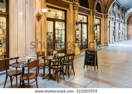 VIENNA, AUSTRIA - AUGUST 09, 2015: Palais Ferstel originally housed the Austro-Hungarian National Bank and the Stock Exchange as well as bazaar and a cafe popular with artists and men of letters.