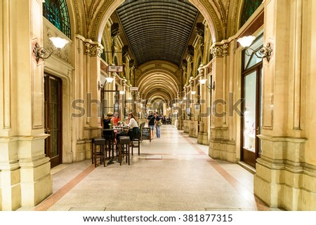 VIENNA, AUSTRIA - AUGUST 10, 2015: Palais Ferstel originally housed the Austro-Hungarian National Bank and the Stock Exchange as well as bazaar and a cafe popular with artists and men of letters.