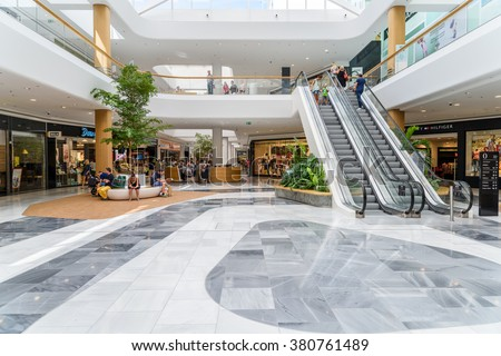 VIENNA, AUSTRIA - AUGUST 10, 2015: People Shop In Shopping City Sud Luxury Mall The Biggest Shopping Mall In Austria. - stock photo