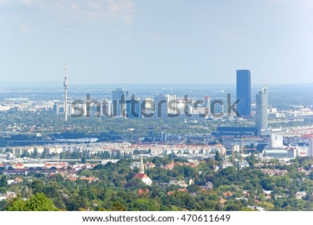 VIENNA, AUSTRIA - 17 August 2016: Prominent modern buildings of Vienna are the Vienna International Centre, which is a location for the UNO, the Donauturm, the Millennium Tower and the DC Tower.