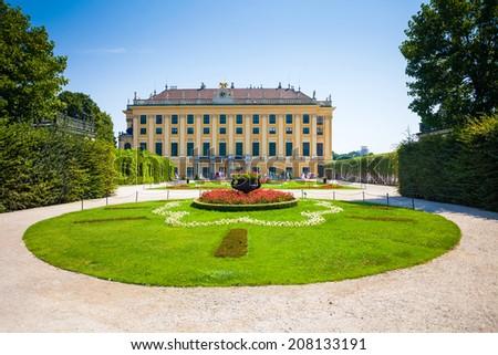 VIENNA, AUSTRIA - AUGUST 4, 2013: Schonbrunn Palace royal residence garden on August 4, 2013 in Vienna, Austria. - stock photo