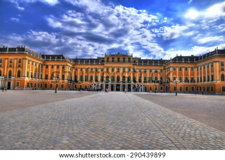 VIENNA, AUSTRIA - August 31:The entrance to the Schonbrunn Palace, Vienna in HDR. Vienna, Austria. August 31, 2013 - stock photo
