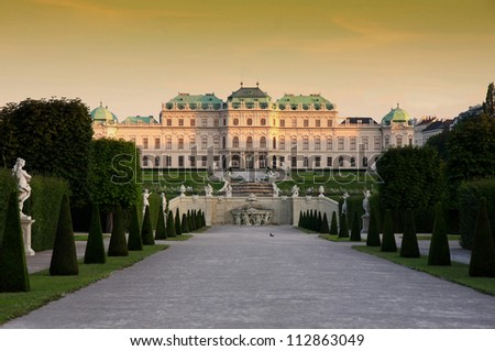 VIENNA, AUSTRIA - AUGUST 18: Upper Belvedere on august 18, 2012 in Vienna. 1720 - 1723 was built Belvedere were constructed for Prince Eugene of Savoy, a famous Baroque architect is Johann Hildebrandt - stock photo