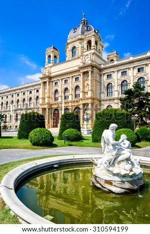 Vienna, Austria. Beautiful view of famous Kunsthistorisches (Fine Arts Museum) with park Maria-Theresien-Platz and sculpture in Vienna, Austria - stock photo