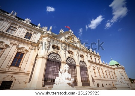 Vienna, Austria - Belvedere Palace building. The Old Town is a UNESCO World Heritage Site. - stock photo