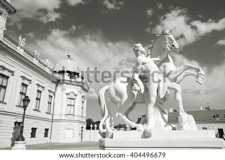 Vienna, Austria - Belvedere Palace building. The Old Town is a UNESCO World Heritage Site. Black and white tone - retro monochrome color style. - stock photo