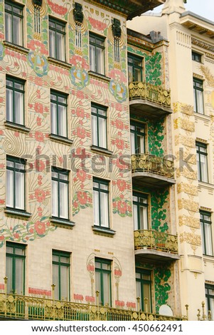 VIENNA, AUSTRIA - CIRCA OCTOBER 2013: Facades of the Linke Wienzeile 40 (Majolica House) and Linke Wienzeile 38 buildings in Vienna, both designed by Austro-Hungarian architect Otto Wagner.