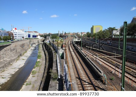 Vienna, Austria - cityscape with Danube canal and railway tracks