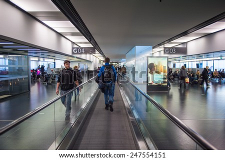 VIENNA, AUSTRIA - DEC 30, 2014: Interior of the Vienna International Airport, which serves as the hub for Austrian Airlines