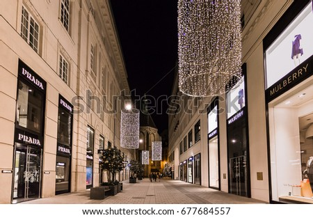 Vienna, Austria, December 2016: Christmas In Vienna, Beautiful Christmas  Decoration At The