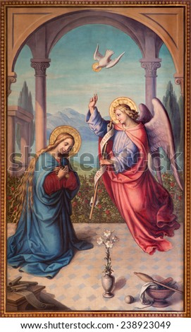 VIENNA, AUSTRIA - DECEMBER 17, 2014: The Annunciation paint from 20. cent in the chruch Muttergotteskirche by Josef Kastner the younger. - stock photo