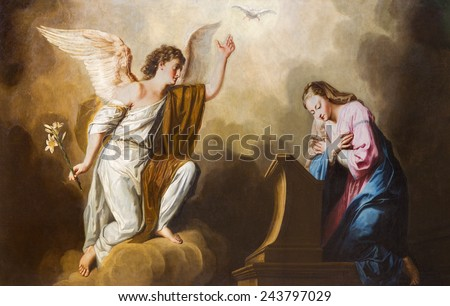 VIENNA, AUSTRIA - DECEMBER 17, 2014: The Annunciation paint in presbytery of Salesianerkirche church by Giovanni Antonio Pellegrini (1725-1727).  - stock photo