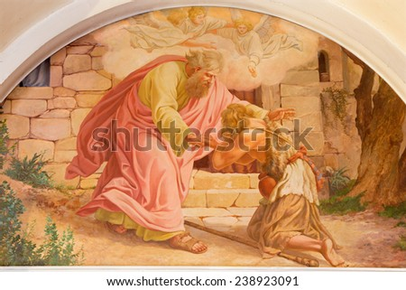 VIENNA, AUSTRIA - DECEMBER 17, 2014: The comeback of Prodigal son scene by Josef Kastner the older from 20. cent. in Erloserkirche church. - stock photo