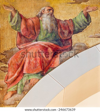 VIENNA, AUSTRIA - DECEMBER 17, 2014: The fresco of prophet Isaiah by Josef Kastner the younger from 20. cent in the church Muttergotteskirche. - stock photo