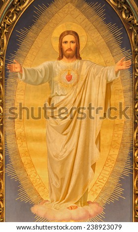 VIENNA, AUSTRIA - DECEMBER 17, 2014:  The Heart of Jesus paint on the main altar of Sacre Coeur church by Anna Maria von Oer (1846-1929). - stock photo