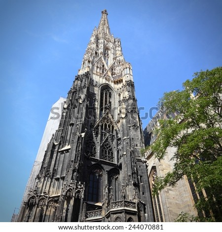 Vienna, Austria - famous Stephansdom (Saint Stephen's Cathedral). The Old Town is a UNESCO World Heritage Site. Square composition. - stock photo