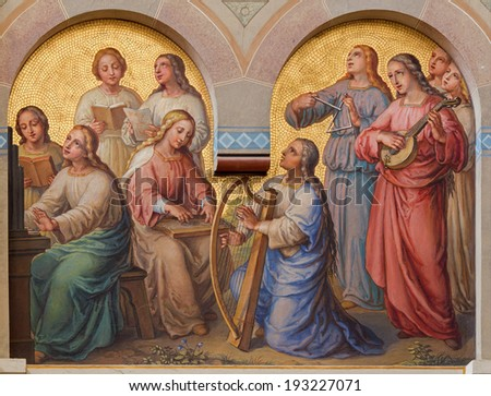 VIENNA, AUSTRIA - FEBRUARY 17, 2014: Choir of holy women in the heaven by Josef Kastner from 1906 - 1911 in Carmelites church in Dobling.  - stock photo