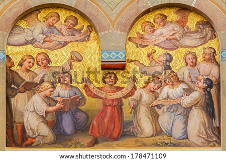 VIENNA, AUSTRIA - FEBRUARY 17, 2014: Choir of little angels in the heaven by Josef Kastner from 1906 - 1911 in Carmelites church in Dobling. - stock photo