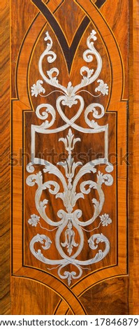 VIENNA, AUSTRIA - FEBRUARY 17, 2014: Detail of baroque intarsia on the sacristy door of St. Anne's Church.