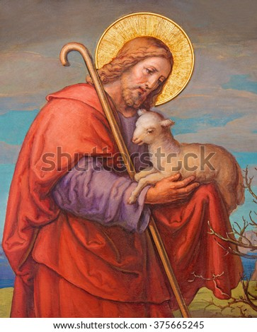 VIENNA, AUSTRIA - FEBRUARY 17, 2014: Fresco of Jesus as good shepherd by Josef Kastner 1906 - 1911 in Carmelites church in Dobling.