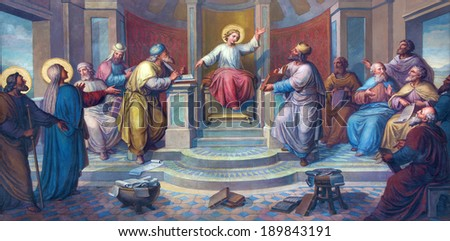 VIENNA, AUSTRIA - FEBRUARY 17, 2014: Fresco of scene - Little Jesus among scribes in the Temple by Josef Kastner from 1906 - 1911 in Carmelites church in Dobling.  - stock photo