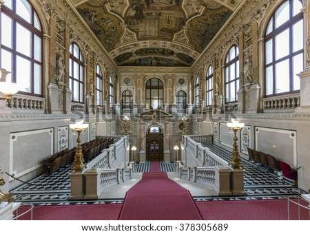 VIENNA, AUSTRIA - FEBRUARY 15, 2016: Interior of Historic Burgtheater (Court Theatre) at the famous Wiener Ringstrasse. Its one of the most important German language theatres.