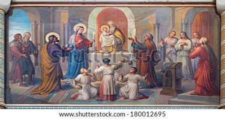 VIENNA, AUSTRIA - FEBRUARY 17, 2014: Presentation of Jesus in the Temple fresco by Josef Kastner from 1906 - 1911 in Carmelites church in Dobling. - stock photo