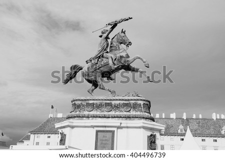 Vienna, Austria - Hofburg Palace and monument of Archduke Charles. The Old Town is a UNESCO World Heritage Site. Black and white tone - retro monochrome color style. - stock photo
