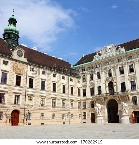 Vienna, Austria - Hofburg Palace courtyard. The Old Town is a UNESCO World Heritage Site. Square composition. - stock photo