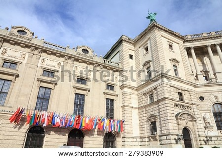 Vienna, Austria - Hofburg Palace. The Old Town is a UNESCO World Heritage Site. - stock photo