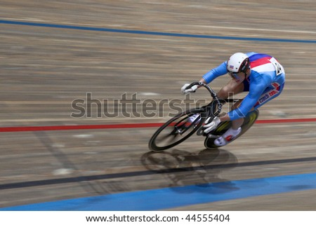 VIENNA,  AUSTRIA - JANUARY 12 Indoor track cycling meeting - Tomas Babek (Czech Republic) places second in the men's keirin race on January 12, 2010 in Vienna, Austria. - stock photo