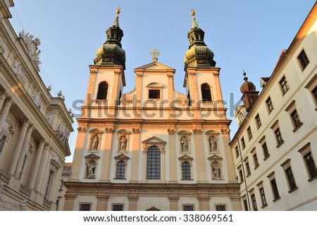 Vienna, Austria. Jesuit Church in a sunny summer evening