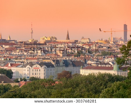 VIENNA, AUSTRIA JUL 17 20114: Panoramic view from Schonbrunn  to center of Vienna during sunset. Vienna is capital of Austria with population about 1.757.000 and number one in quality of living rating - stock photo