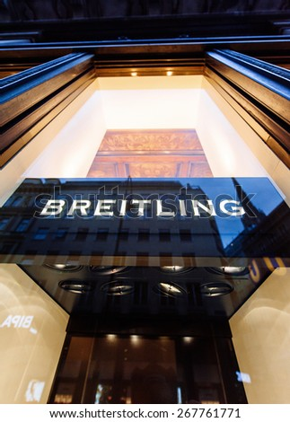 VIENNA, AUSTRIA - JULY 07, 2011: Breitling flagship store facade on July 07, 2011 in Vienna, Austria. Breitling SA is known for precision-made chronometers useful to aviators and luxury watches  - stock photo