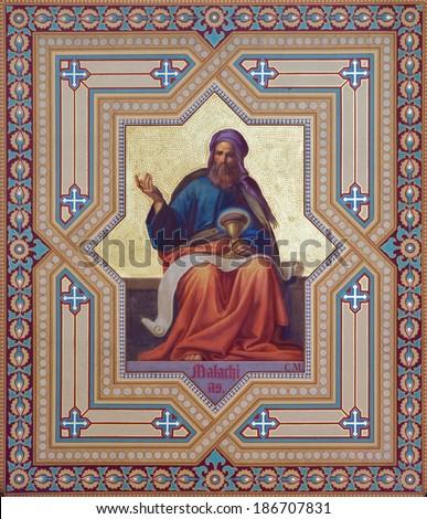 VIENNA, AUSTRIA - JULY 27, 2013: Fresco of Malachi prophets from 19. cent. by Carl Mayer in Altlerchenfelder church. - stock photo