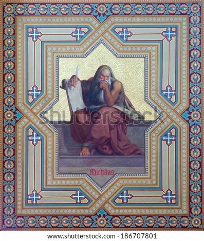 VIENNA, AUSTRIA - JULY 27, 2013: Fresco of prophet Micah by Carl Mayer from 19. cent. in Altlerchenfelder church. - stock photo
