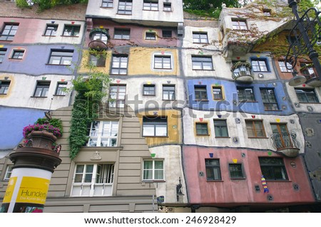 VIENNA, AUSTRIA - JULY 27, 2011: Hundertwasser Haus building, finished in 1985 and is one of finest examples of expressionist architecture in Austria. Photo taken on July 27, 2011 in Vienna.  - stock photo