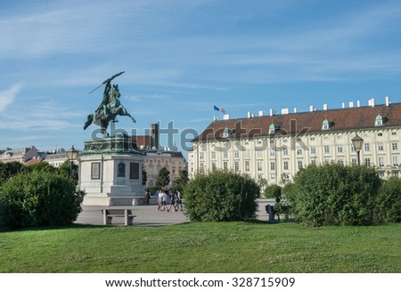 VIENNA, AUSTRIA - JULY 31: Statue of Archduke Karl, in of the Imperial Hofburg Palace w residence and workplace of the President of Austria on  july 31, 2015 in Vienna