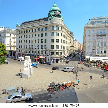 VIENNA, AUSTRIA - JULY 28: View of Vienna on July 28, 2013 in Vienna, Austria. Vienna is the 7th-largest city by population in the European Union with a population of about 1.7 million. - stock photo