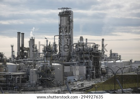Vienna, Austria - June 25, 2015: Color picture of the OMV refinery in Vienna