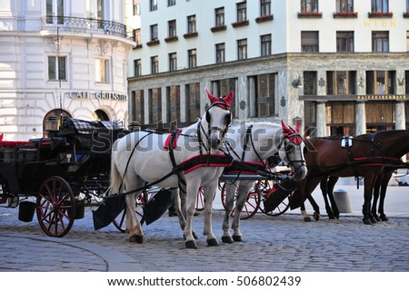 VIENNA, AUSTRIA - JUNE 6: Horses carriage at Hofburg, Vienna on June 6, 2016. Vienna is a capital and largest city of Austria.